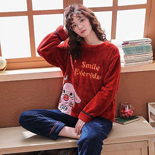 WDDYYBF Pijamas Mujer,Manga Larga Caliente Franela Pijama Invierno Mujeres Pijama Conjuntos Animal Cerdo Impresión Espesa Pijama Pijama De Pijama Más Tamaño Pijama De Pijama, XL