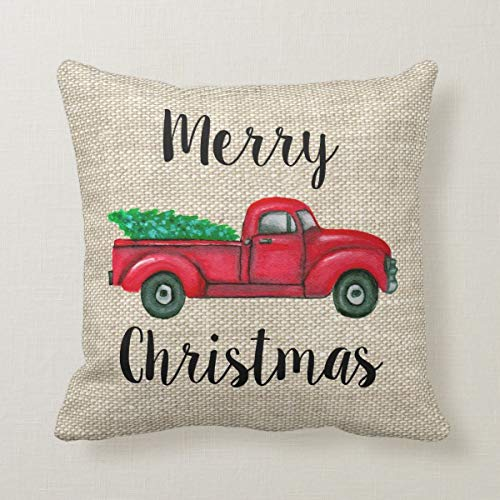 Yilooom 18 X 18 Inch Square Throw Pillow Cases Cushion Covers For Bed Sofa Couch Car Home Decor Vintage Red Truck With Christmas Tree Pillow Cover