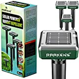 Solar Mole Repellent Ultrasonic 4 Pack Outdoor Powered Sonic Deterrent - Mole Stopper Scare Vole for Lawn Garden & Yard Home - Pest Control No Killing - Twice The Size and Power!