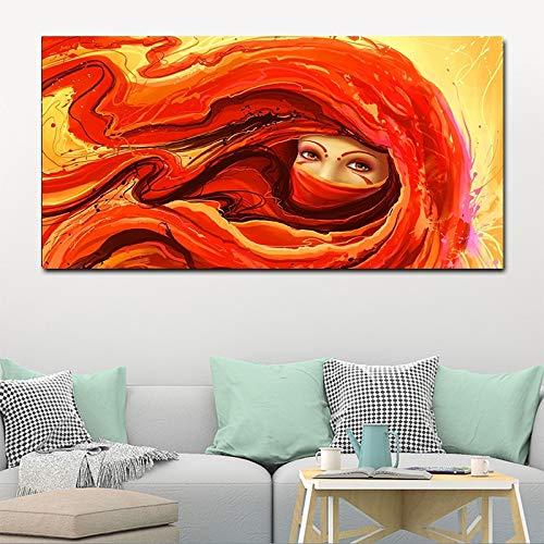 sanzangtang Neuheit Moderne Heimtextilien Frau auf Rot Leinwand Gemälde Porträt auf Wand Wohnzimmer Poster und Drucke Rahmenlos 60x120cm