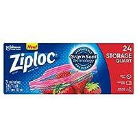 Ziploc Storage Bags Quart 24 Count box by Ziploc