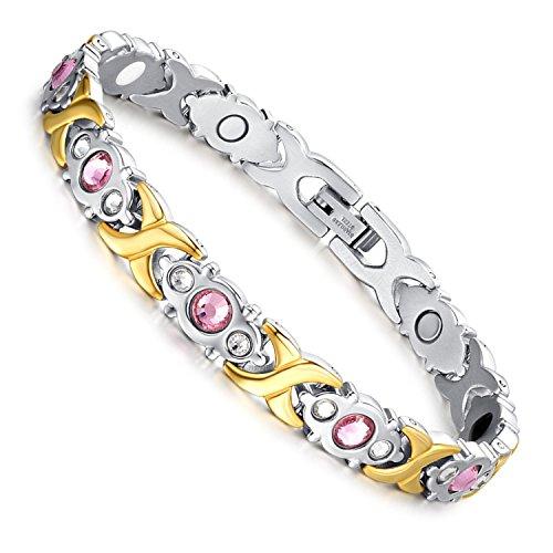 Flongo Edelstahl Magnet Therapie Kugel Perle Perlen Armband Armreif Magnetarmband Strass Link Handgelenk Herz Infinity Unendlichkeit Ewigkeit Symbol Gold Golden Gesundheit Elegant Damen