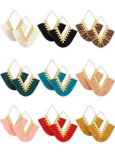 9 Pairs Tassel Statement Earrings Bohemian Fringe Silky Dangle Earrings V Shaped Handmade Geometric Triangle Drop Earrings for Women Girls