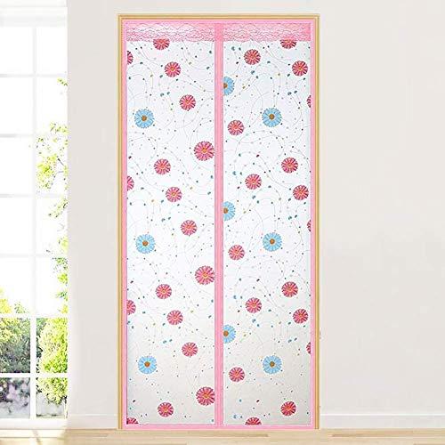 Afdrukken deurblad magnetisch afschermingsdemping auto gordijn deurdrangers Houd tocht en de geur van het koken kamer met airconditioning,39x91inch (100x230cm),roze