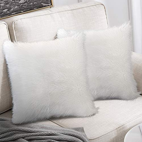 Peshtemania Luxury Style White Faux Fur Throw Pillow Case (2packs 18'x18') Decorative Cushion Cover for Sofa Couch Bedroom Living Room and Car Best for Modern, Marble and Glam Decor