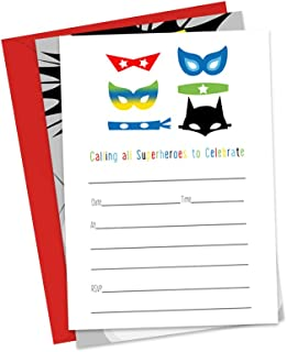 Superheroes Party Invitations with Red Envelopes (Pack of 15)