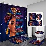 Jayden&Madge 4PCS/Set Sexy African Woman Shower Curtain, Afro Girl Quote Bathroom Sets, Waterproof Polyester Cloth Fabric Bath Curtain, Non-Slip Bathroom Mat Toilet Rug Bath Mat, I AM Black Woman