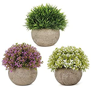 C APPOK Artificial Potted Plants Mini Fake Plant, Small Plastic Green Flower Grass with Pot, Faux Potted Plants for Home Decor, Indoor, Table Decoration – 3 Pack, Green, White, Purple