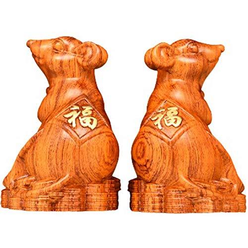 WOLJW 2020 Feng Shui ébano/estatua de palo de rosa estatua ratón/rata hogar oficina mesa decoración china zodiaco regalo colección Feng Shui Artículo, palo de rosa, M