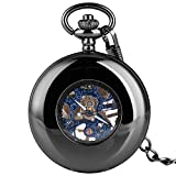 WYZQ Reloj de Bolsillo mecánico de Cuerda Manual de Moda para Hombres, Relojes de Bolsillo con Caja ahuecada para Mujeres, Reloj Colgante de Cadena áspera Duradera para Esposo, Reloj de Bolsillo