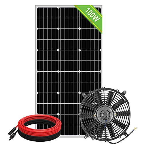 Pumplus 100 Watt Solar Powered Attic Fan System, Ventilator Gable Roof Vent Fan+100W Solar Panel, for Attic or Greenhouse (DELIVERY in 2 Packages)