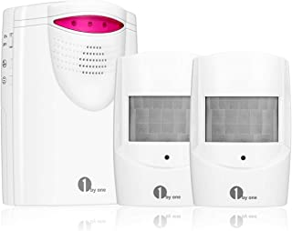 1byone Wireless Home Security Driveway Alarm, 1 Battery-operated Receiver and 2 PIR Motion Sensor Detector Weatherproof Patrol Infrared Alert System Kit
