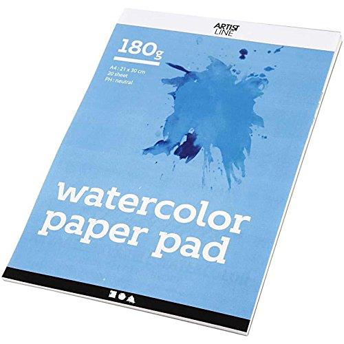 Aquarel Papier Pad, A4 21x30 cm, 180 cm, wit, 20 vellen