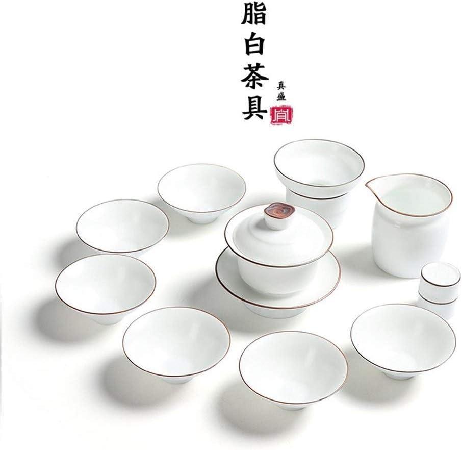 Witte Theeset Zen Aliphatische Baigong Fu Dent Theeservies Porseleinen Keramische Set (Kleur: Ronde Hoge Round high bowl
