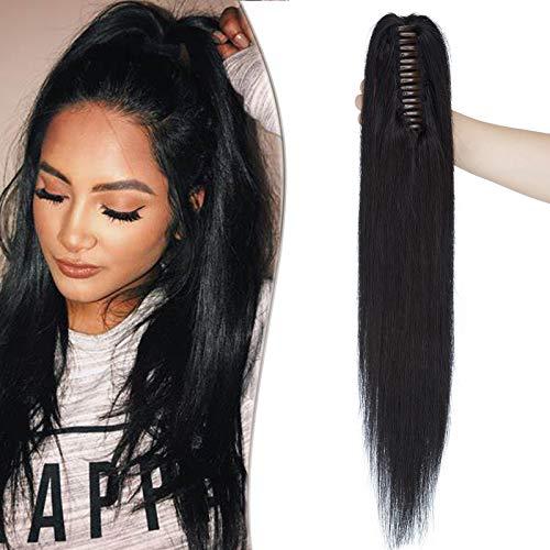 SEGO Ponytail Extension Echthaar mit Klammer Pferdeschwanz Zopf Clip in Haarteil Haarverlängerung 100% Remy Haar Hair Piece Platinumblond#60 16