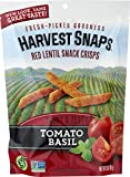 Harvest Snaps Red Lentil Snack Crisps, Tomato Basil, deliciously baked and crunchy veggie snacks with plant protein and fiber, 3-Ounce Bag (Pack of 12)