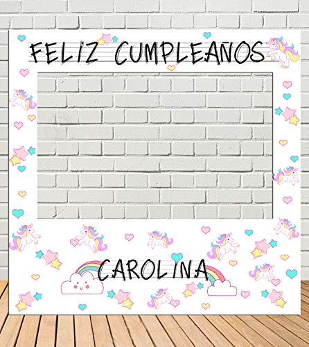 Tu Fiesta Mola Mazo Photocall de cumpleaños Unicornios 100x100cm  Divertido y económico Detalle de cumpleaños  Hazte Unas Fotos Divertidas de cumpleaños  Personalizable