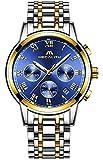 Montre Homme Acier Inoxydable Montre Bracelet de Mode Etanche Chronographe Date...