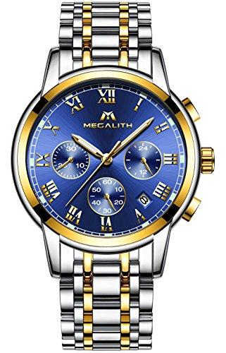 Hombre Acero Inoxidable Reloj de Pulsera Moda Cronometro Impermeable Fecha Calendario Analogicos Cuarzo Reloj Militar Deportivo Luminoso Negocio Casual con Números Romanos Dial Azul