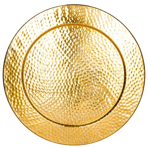 Großes Rundes Tablett aus Metall Nizza Gold 60cm groß | Design Goldtablett Goldfarbig | Serviertablett Rund Rutschfest | als Dekoration auf dem gedeckten Tisch oder Wanddeko im Wohnzimmer