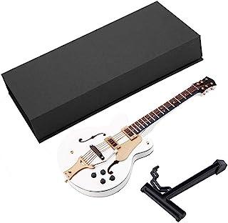 Jacksking Guitarra en Miniatura, réplica de Guitarra eléctrica en Miniatura Blanca de 7 pulg. con Caja Modelo Adornos Regalos de Navidad