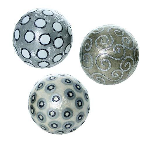 DONREGALOWEB Set de 3 Bolas nacaradas Redondas de 10 cm Cada una (Grises circulos)