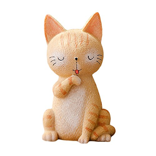 WAIT FLY Cute Standing Cat Resin Piggy Bank Coin Bank Money Bank Best Holiday Birthday Gifts Home Desk Decorations for Friends Kids