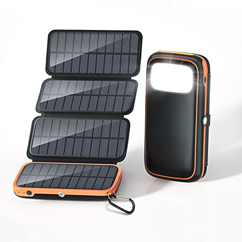 Solar Charger 30000mAh, Solar Power Bank with 3 Outputs and 4 Foldable Panels, 3A Fast Charging USB C Portable Phone Charger with Flashlight for Outdoor Camping, Hiking