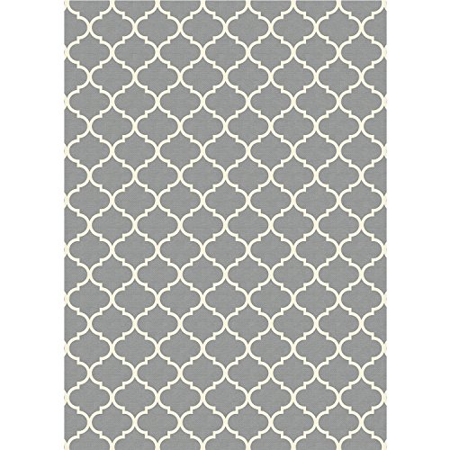 """RUGGABLE Moroccan Trellis Light Grey Washable Indoor/Outdoor Stain Resistant 5'x7' (60""""x84"""") Area Rug 2pc Set (Cover and Pad)"""