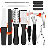 Fotwen Foot files, Callus Remover for Feet, Foot scrubber for dead skin and Nail Toenail Clipper, Pedicure Set 15 in 1 Foot Care Kit to Remove Hard Skin for Women Men Salon or Home