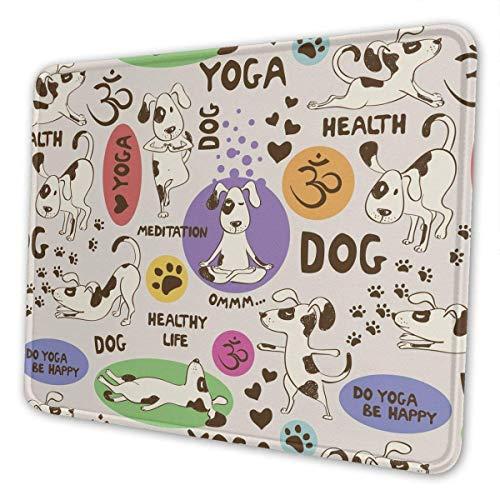 Cartoon Hund macht Yoga Position Fit Gesundes Mauspad mit genähter Kante, Premium-strukturierte Mausmatte, rutschfestes Gummibasis-Mauspad für Laptop, Computer & PC,