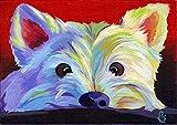 JXFFF Sin Marco 40x50cm 3D HD Impresión de Lienzo Pintura al óleo Pintura al óleo Sala de Estar Decoración del hogar Pintura Westy Dog