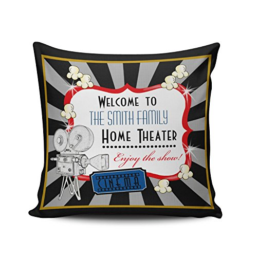 KEIBIKE Personalized Movie Theater Cinema European Square Decorative Pillowcases Print Zippered Throw Pillow Covers Cases 18x18 Inches One Sided