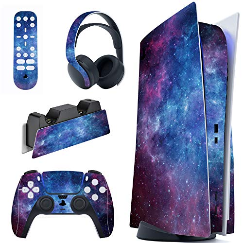 PlayVital Pegatina Completa para PS5 Edición Normal Calcomanía Vinilo para Playstation 5 Consola&Control&Estación de Recarga&Control Remoto&Audífonos Adhesivo Piel para PS5-Magic Sky