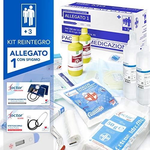AIESI® kit di reintegro ALLEGATO 1 CON SFIGMOMANOMETRO pacco medicazione per cassetta armadietto di pronto soccorso aziende più 3 dipendenti # Conforme DM388/DL81# Made in Italy