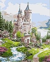 DMFNGJSD 数字油絵 フレーム付き 、数字キット塗り絵 手塗り DIY絵-妖精の森の城-デジタル油絵 40x50 cm