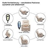 MCombo Elektrisch Aufstehhilfe Fernsehsessel Relaxsessel Massage Heizung elektrisch verstellbar USB (Creme) - 8