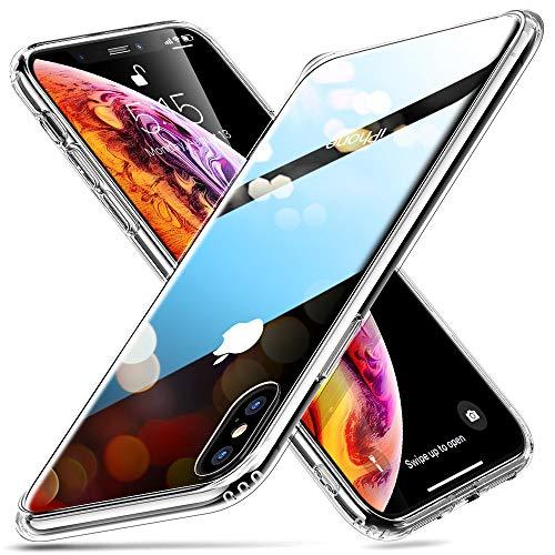 ESR Coque iPhone XS Max Silicone, Coque Transparente avec Revêtement Arrière en Verre Trempé, Bords Couvrants en Silicone TPU Souple pour iPhone XS Max (2018) 6,5 Pouces (Série Crystal, Transparent)