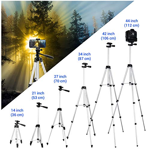 """Phone Tripod,LINKCOOL 42"""" Aluminum Lightweight Portable Camera Tripod for Iphone/Samsung/Smartphone/Action Camera/DSLR Camera with Phone Holder & Wireless Bluetooth Control Remote - Silver"""