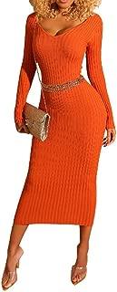 neveraway Womens Long Sleeve V Neck Bodycon Midi Pullover Elasticity Dresses
