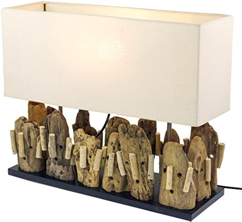 Guru-Shop Tischlampe Tischleuchte Matuba, Handgefertigtes Unikat aus Naturmaterial, Treibholz, Baumwolle - Modell Matuba, 40x50x16 cm, Dekolampe Stimmungsleuchte