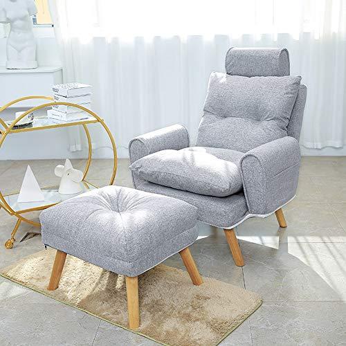 LC-SHBAGS Sessel Mit Fußstütze,Ohrensessel Sessel Mit Verstellbarer Rückenlehne, Sessel Im Modernen Stil, Sessel Aus Vintage-Stoff, Stuhl Aus Gummiholz, Bein, Liegend Gray