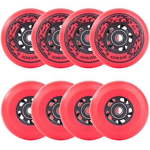 AOWISH 8-Pack Asphalt Outdoor Inline Hockey Wheels 85A Blades Roller Skates Replacement Wheel with Speed Bearings ABEC-9 and Spacers (Red, 80mm)