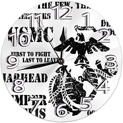 Wanduhr Sempre Fi US Marine Corps Runde Uhr Silent Home Decor Wanduhr Arabische Ziffern Indoor Clock