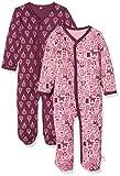 Pippi 2er Pack Kinder Mädchen Schlafstrampler mit Aufdruck, Langarm mit Füßen, Alter 3-4 Jahre, Größe: 104, Farbe: Lila, 3821