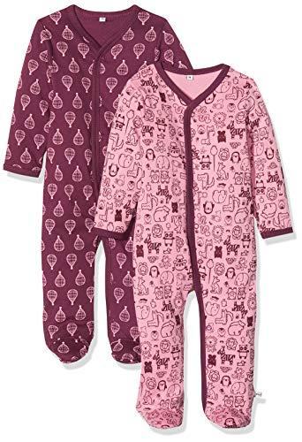 Pippi pak van 2 baby jongens slaaptramper met opdruk, lange mouwen met voeten, leeftijd 12-18 maanden, maat: 86, kleur: