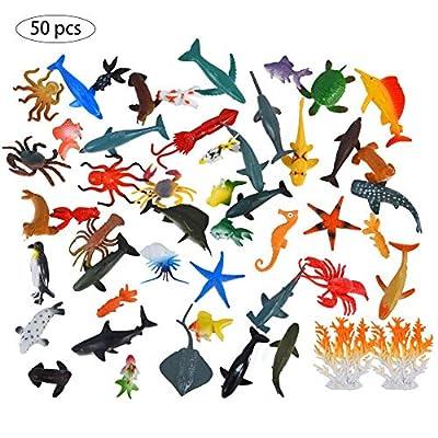 Animaux Jouet Enfant Jouet Plastique Animal Marin Jouets Figurines 50 PCS Cute Pet Decoration Jouet Modèle Animal Marin Poupées Paysage Miniature 50 Mini Figurines