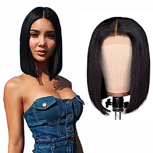 Lace Front Wigs Human Hair Straight Wave Pre Plucked 4x4 Lace Front 100% Real Human Hair Bleached Knots Straight Wave Transparent Closure Wigs For Women 10 Inch