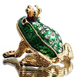 Waltz&F Crown Frog Hand-Painted Trinket Box Animal Jewelrybox Figurine Collectible Ring Holder