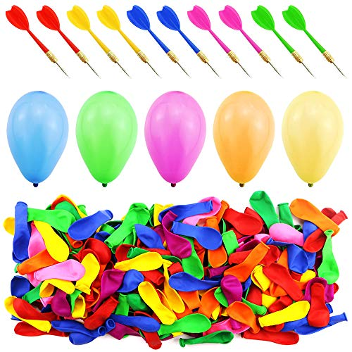 WFPLUS 500 Pcs 6 Inch Assorted Color Latex Dart Balloons Water Balloon with 10 Pcs Plastic Darts for Outdoor Games ? Carnival Pop Party